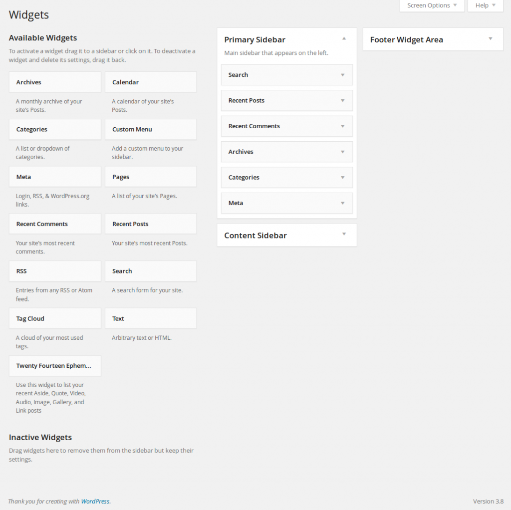 Panel de Widgets de WordPress