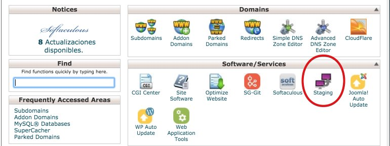 cPanel X - Staging WordPress