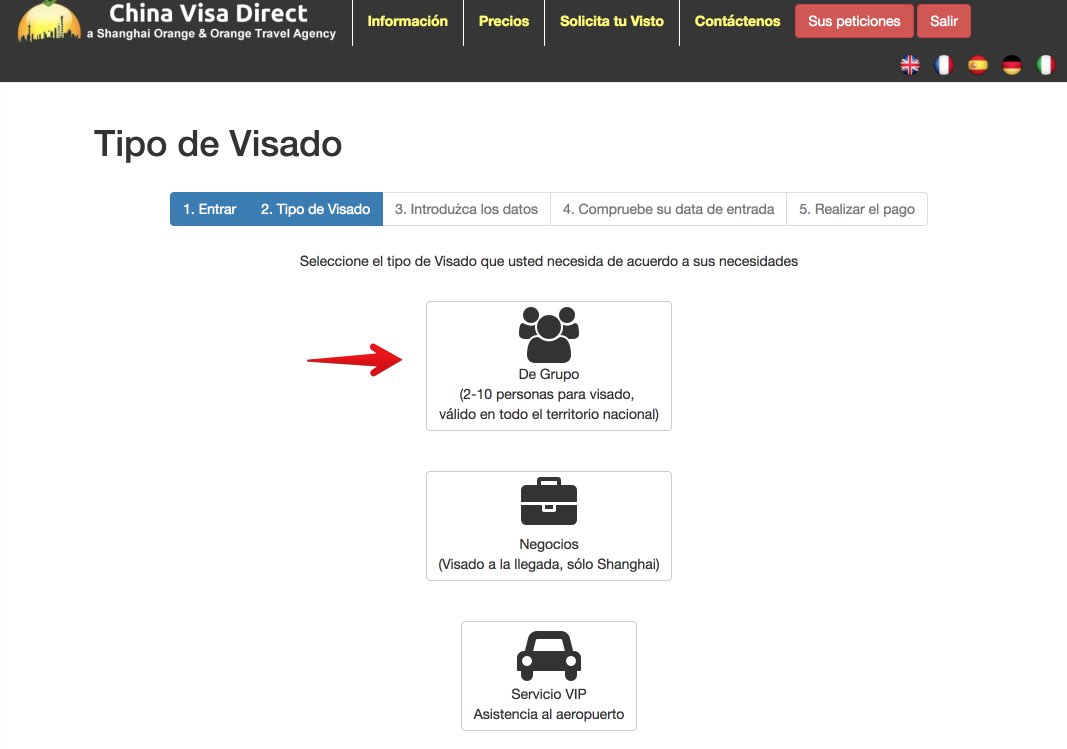Sitio web China Visa Direct - Solicitud Visado Colectivo a China 2
