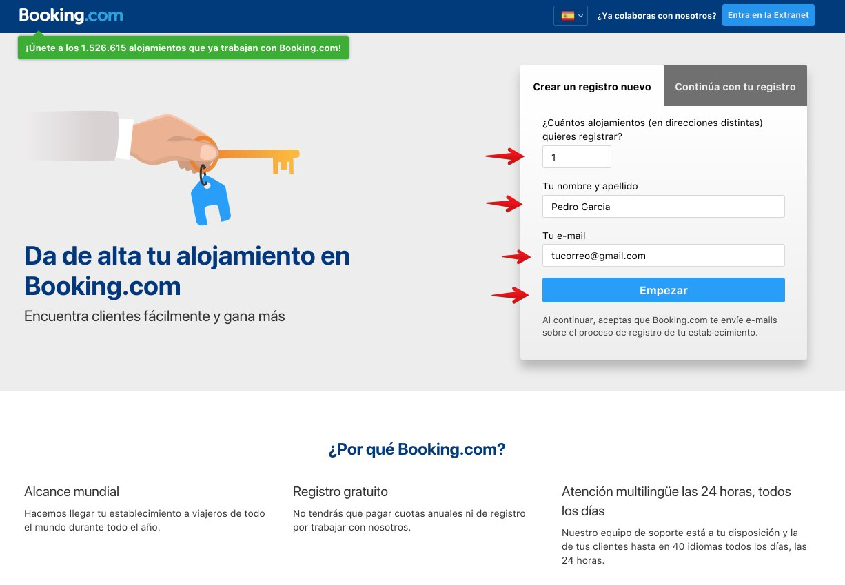 Registra tu alojamiento en Booking 1