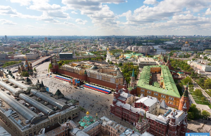 Red Square in Moscow - aerial view