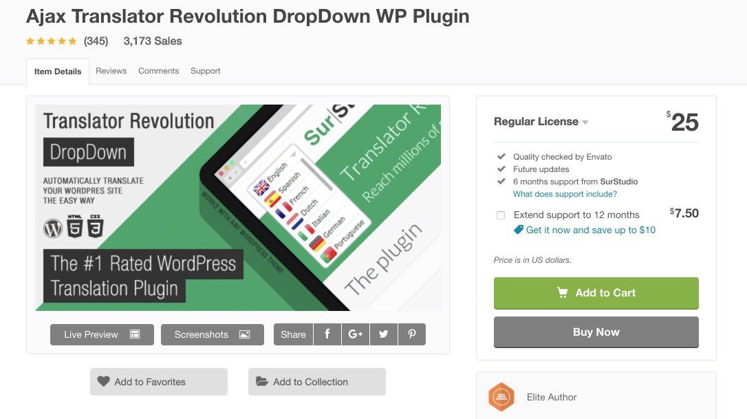 Ajax Translator Revolution DropDown WP Plugin by SurStudio - CodeCanyon