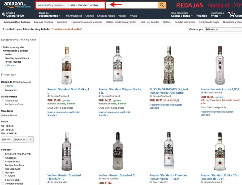 Amazon - russian standard vodka