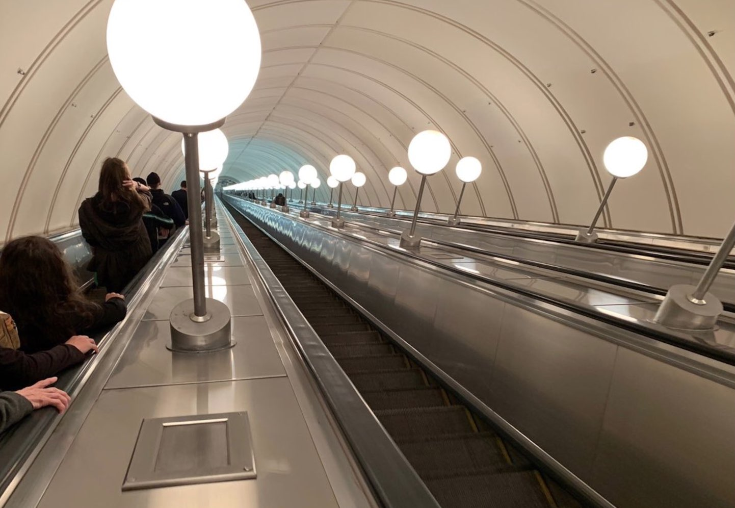 Going down the escalators of the Moscow Metro 3